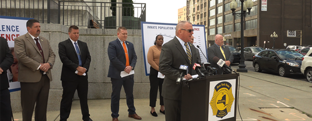 NYSCOPBA President Mike Powers speaks to reporters in Albany on Monday, May 10, 2021.
