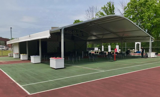 The outdoor Dawn Lipson Canalside Stage at the JCC of Greater Rochester can accommodate up to 500 people.