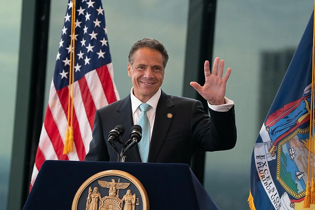 Cuomo thanked supporters at the World Trade Center on June 15, 2021, after New York state reached his goal of 70 percent of adults receiving at least one vaccine dose.