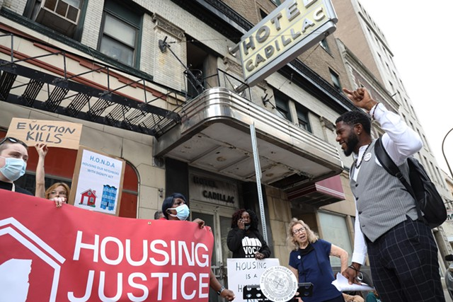 New York Public Advocate Jumaane D. Williams , VOCAL-NY, House of Mercy, and other local activists called for support for HONDA and affordable housing across the state Wednesday, October 13, in front of the the Cadillac Hotel in Downtown Rochester.