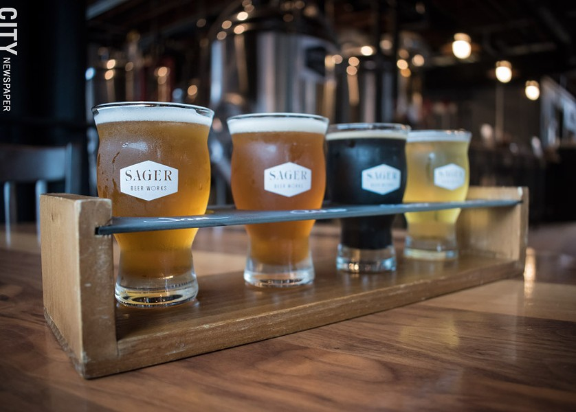 A refreshing flight of beers at new craft beer company Sager Beer Works. - PHOTO BY JACOB WALSH