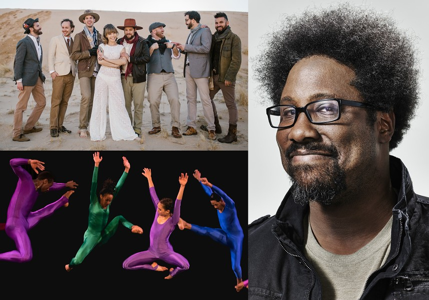 Nazareth College Arts Center's 2019-20 season includes performances by (top left) The Dustbowl Revival on November 23, (bottom left) Garth Fagan Dance on  December 11 through 15 , and W. Kamau Bell on January 17. - THE DUSTBOWL REVIVAL PHOTO BY TALLEY MEDIA; W. KAMAU BELL PHOTO BY JOHN NOWAK; GARTH FAGAN DANCE PHOTO BY ROSALIE O'CONNOR