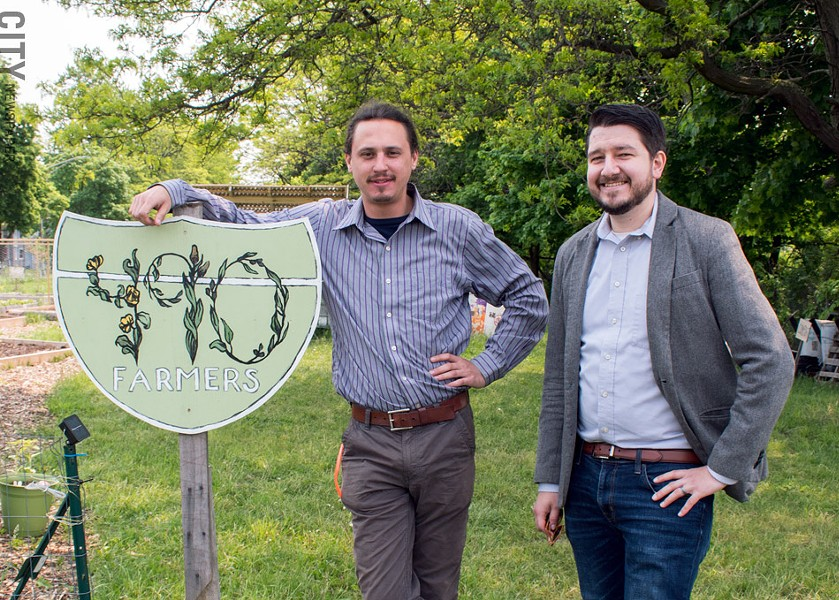Jesse Knoth, left, and Kevin Wilson in the East District, where community engagement and schools are among the issues. - PHOTO BY RENÉE HEININGER