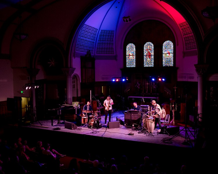 Girls in Airports made its Rochester International Jazz Festival debut on Friday, June 21 at the beautiful Lutheran Church of the Reformation. - PHOTO BY JOSH SAUNDERS