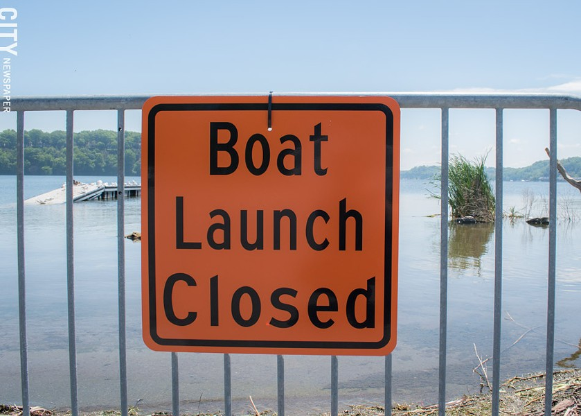 Boat launches at the state's Irondequoit Bay Marine Park near Seabreeze are open only to canoe and kayak access because of the high water. - PHOTO BY RYAN WILLIAMSON