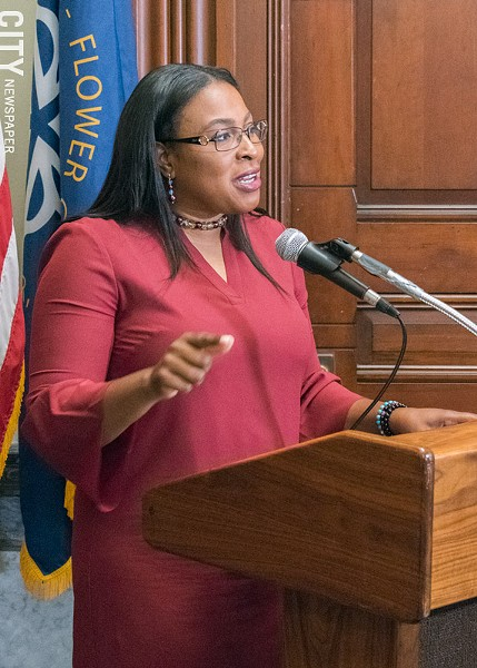 During a press conference Friday, Mayor Lovely Warren said the city would fight a lawsuit from the Rochester School District, which is attempting to stop a November referendum on a temporary state takeover of the school district - PHOTO BY RENÉE HEININGER