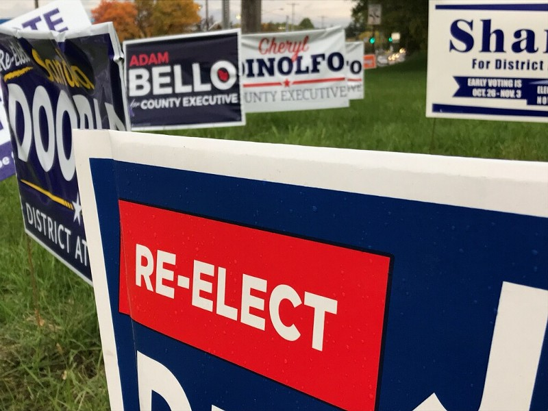 A smattering of political lawn signs crowd a street corner. - PHOTO BY DAVID ANDREATTA