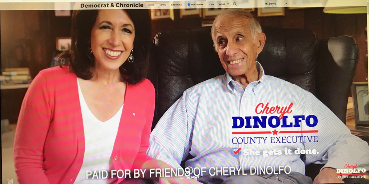 A screen shot of a County Executive Cheryl Dinolfo campaign ad that ran on the Democrat and Chronicle's web site on Friday, November 1, 2019. - FILE IMAGE