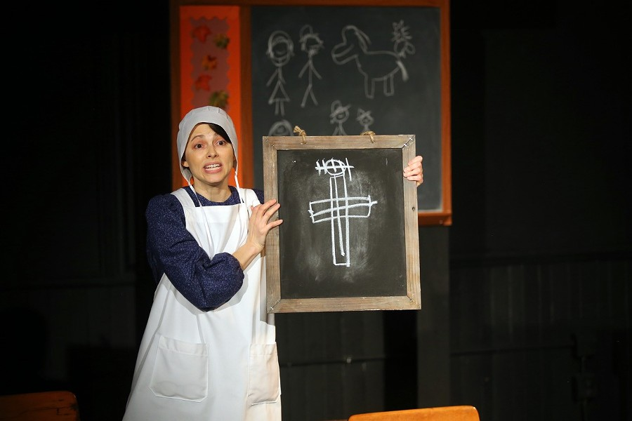 "M.J. Savastano performs in Hummingbird Theater Co.'s production of ""The Amish Project"" at MuCCCC. - PHOTO BY ANNETTE DRAGON"