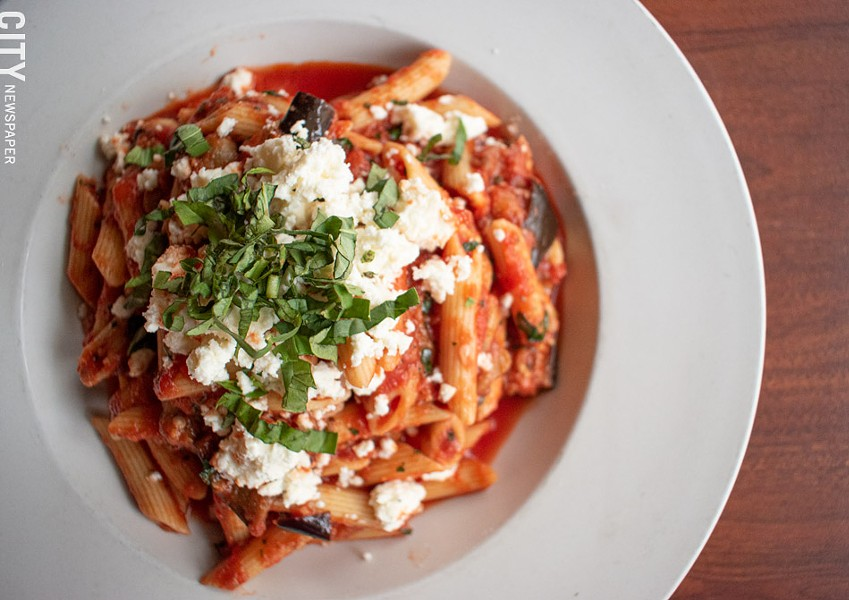 On the new fall menu at Veneto: Penne alla Norma, featuring pasta in tomato sauce with fried eggplant. - PHOTO BY JACOB WALSH