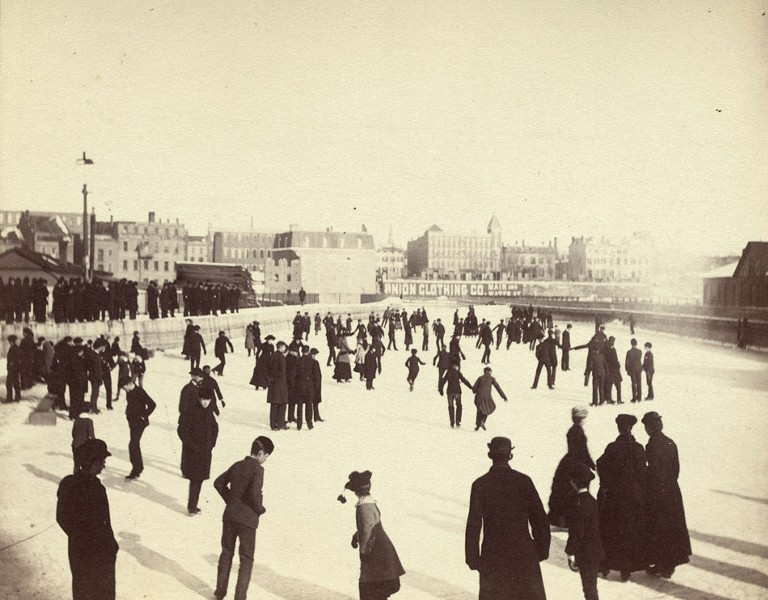19th century Rochester residents enjoying the popular Aqueduct Skating Rink. The view is to the east looking towards South Avenue. - FROM THE COLLECTION OF THE LOCAL HISTORY & GENEALOGY DIVISION, ROCHESTER PUBLIC LIBRARY