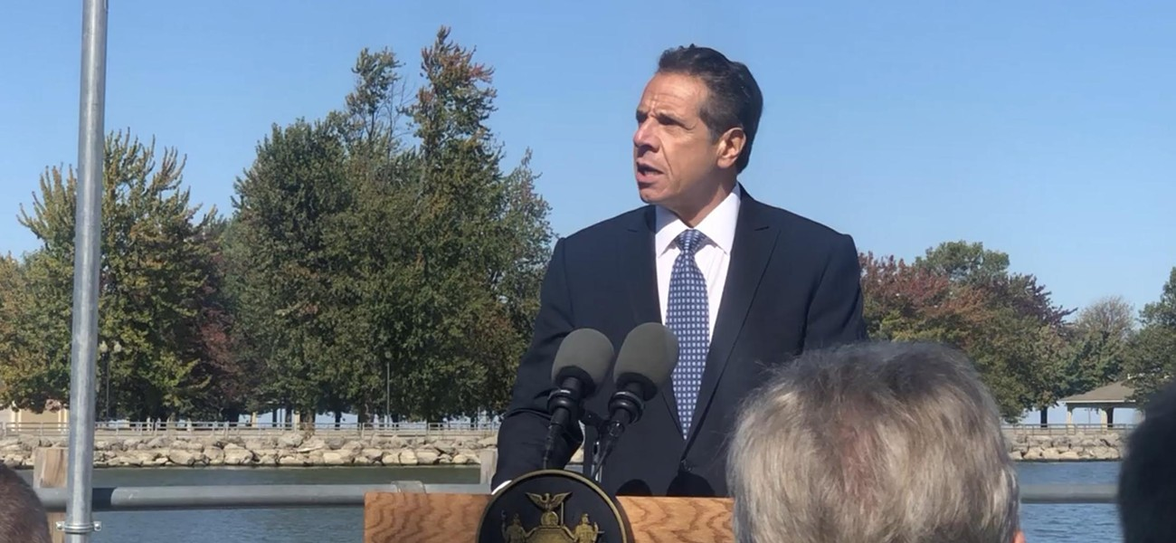 Governor Andrew Cuomo talked about high water levels in Lake Ontario during an October appearance in Irondequoit. - FILE PHOTO