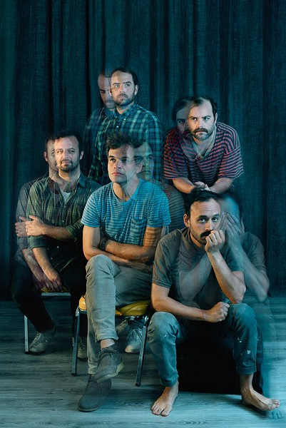 mewithoutYou is (clockwise from left) bassist Greg Jehanian, guitarist Brandon Beaver, drummer Rick Mazzota, singer Aaron Weiss, and guitarist Mike Weiss. - PHOTO BY AMIE SANTAVICCA