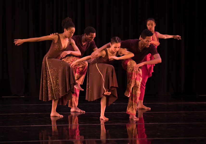 "Sarah Herbert, Le'Tiger Walker, Anna Lee, Adriene Hodge, and Davente Gilreath of  Garth Fagan Dance perform ""Distant Kin."" - COURTESY ROSALIE O'CONNOR PHOTOGRAPHY"
