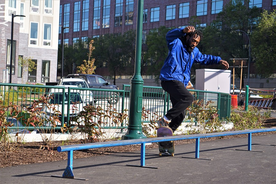 Local skateboarder Desmond Ward at the October groundbreaking for the Roc City Skatepark. - PHOTO BY GINO FANELLI