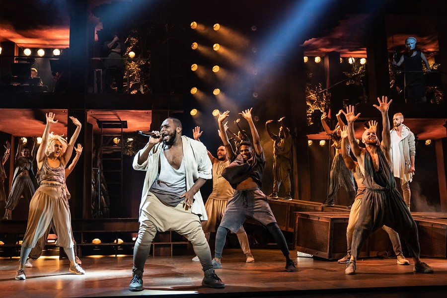 "Erica A. Lewis as Simon and the company of the North American Tour of ""Jesus Christ Superstar."" - PHOTO BY MATTHEW MURPHY"