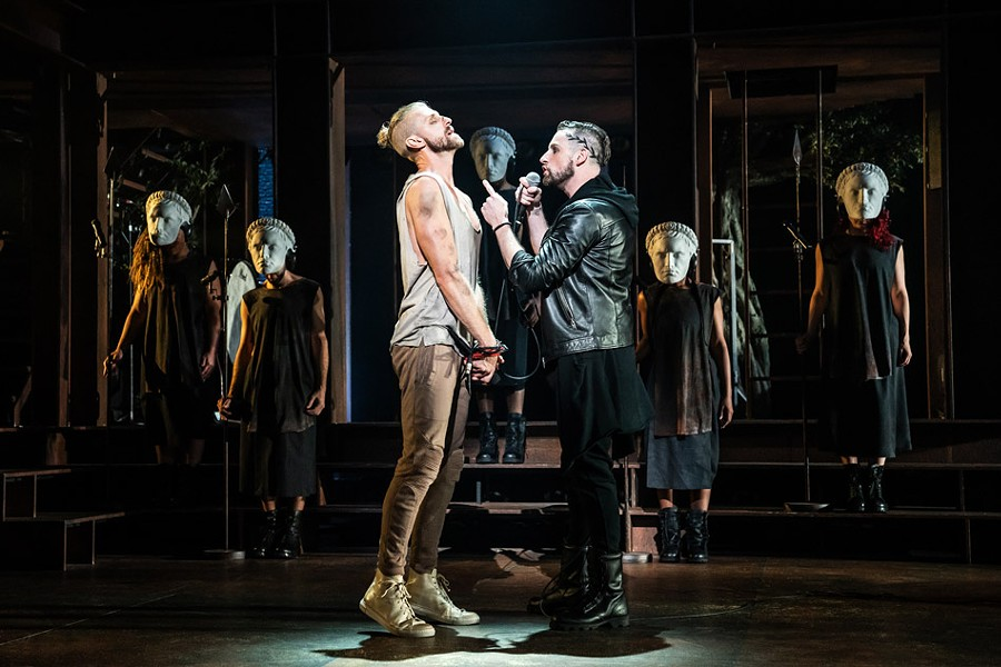 "Aaron LaVigne (Jesus), Tommy Sherlock (Pilate), and the company of the North American Tour of ""Jesus Christ Superstar."" - PHOTO BY MATTHEW MURPHY"