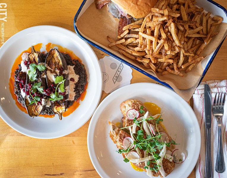 Clockwise from left: roasted eggplant, pub burger, duck toast tartine. All three dishes are on both the lunch and dinner menus. - PHOTO BY JACOB WALSH