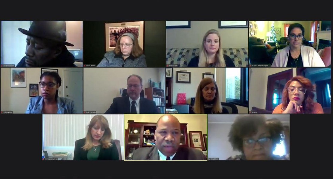 A screen capture of the Zoom meeting where the Rochester school board approved the district's 2020-21 budget. - PHOTO BY JAMES BROWN, WXXI NEWS