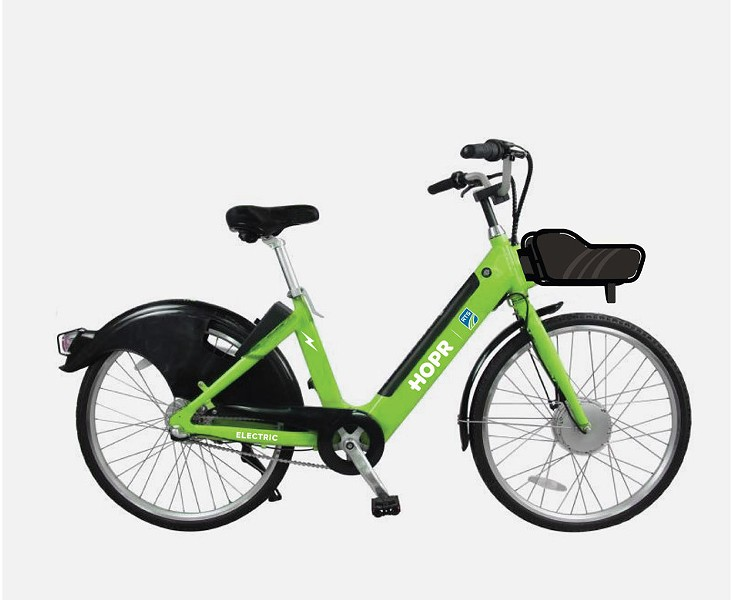 One of the electric-assist bikes offered by bike share company HOPR. - PHOTO PROVIDED