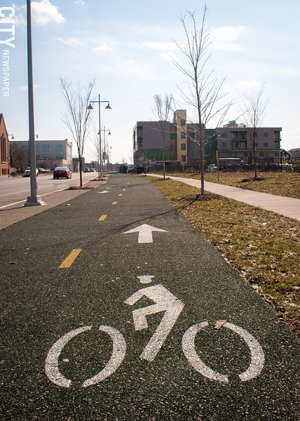 A two-way cycle track along Union Street in Rochester. - FILE PHOTO