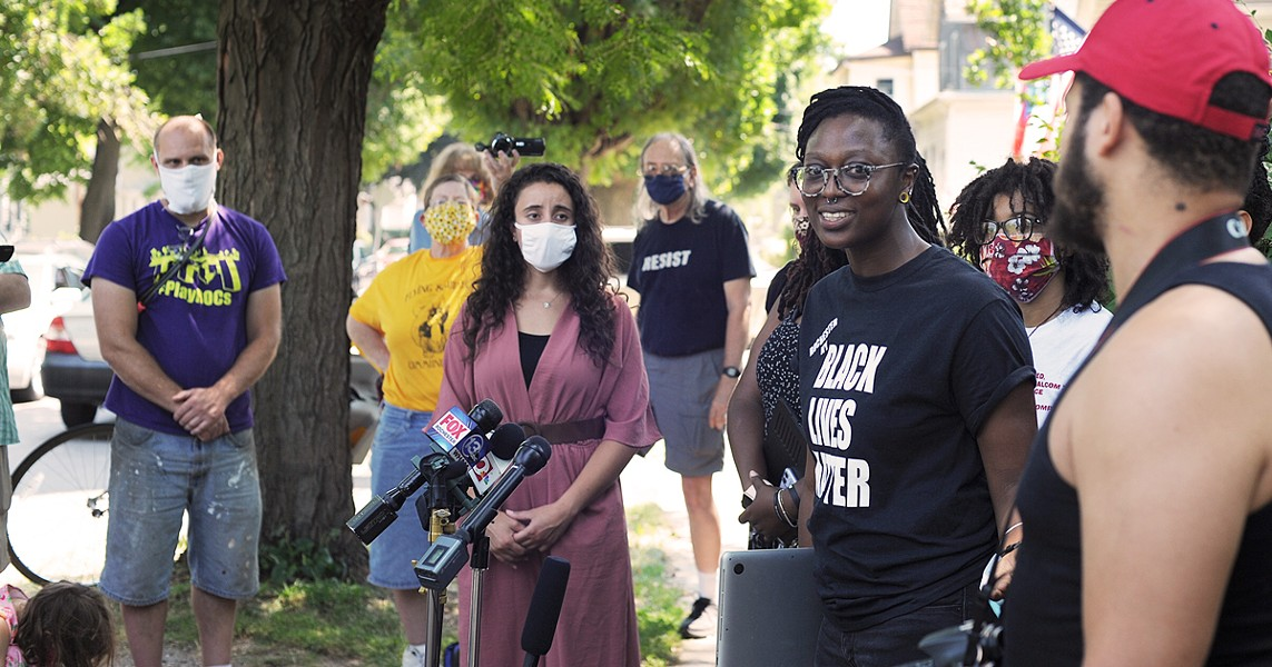 Stanley Martin, an organizer for Free the People Roc, gave media her account of a July 5 incident on Pennsylvania Avenue during a news conference Thursday. - PHOTO BY JEREMY MOULE