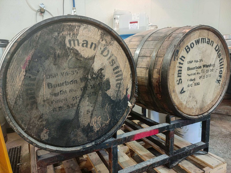 Barrels for the upcoming Tsar Wars imperial stout at Roc Brewing Company. - PHOTO BY GINO FANELLI