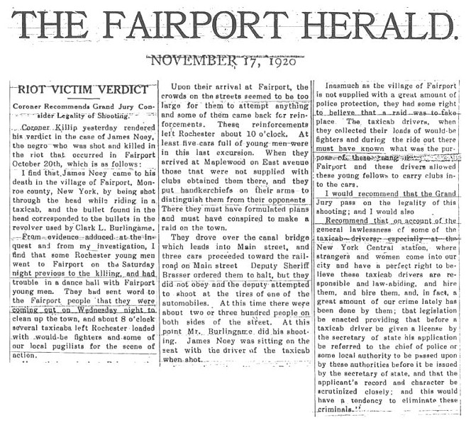 "The Fairport Herald published the ""verdict"" of Monroe County Coroner Thomas A. Killip in the killing of James Noey on Nov. 17, 1920."