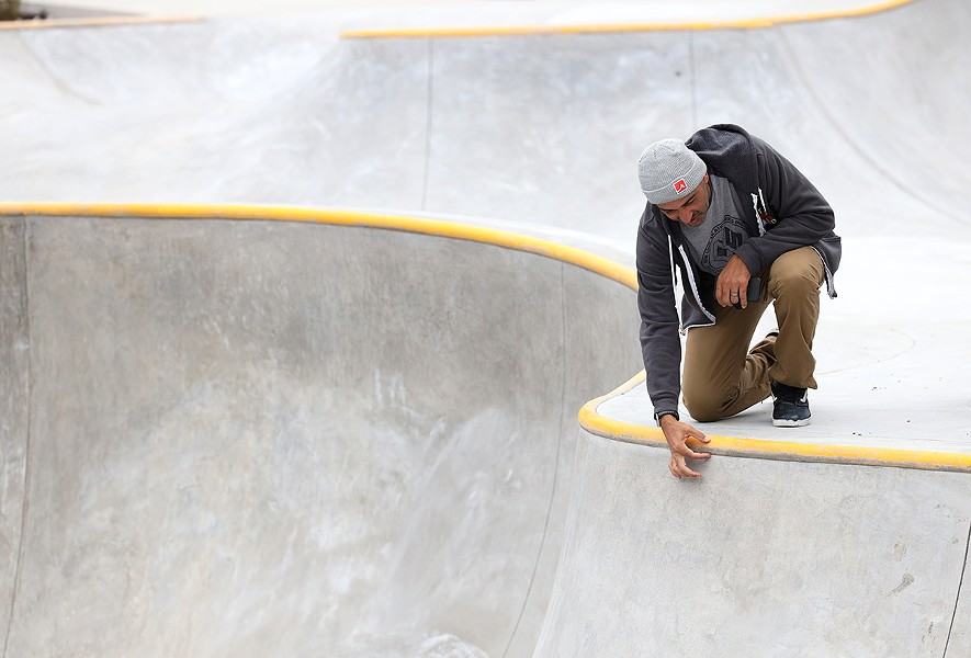 Kanten Russell takes his final walkthrough of the Roc City Skatepark on Thursday, Oct. 15. - PHOTO BY MAX SCHULTE