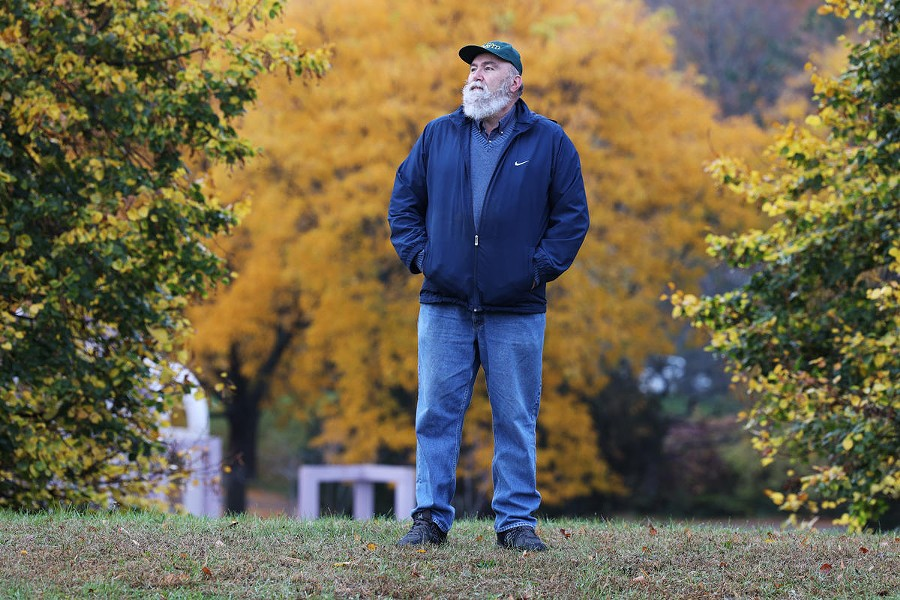 Brian Nagel stands in Highland Park, where 36 years ago he and his team led an excavation of hundreds of human remains. - PHOTO BY MAX SCHULTE