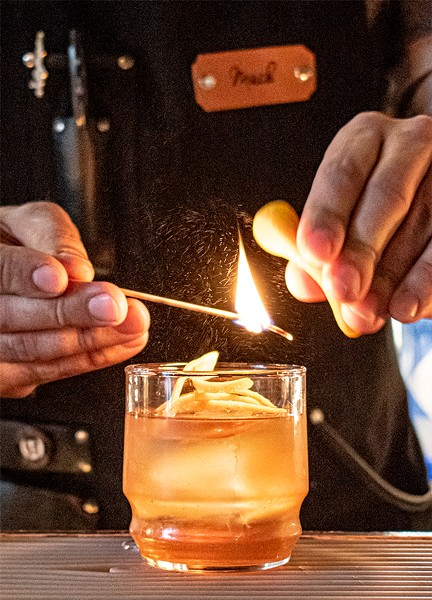 """The bright aroma of a burned orange peel provides the finishing touch to """"The Iron Sickle."""" - PHOTO BY JACOB WALSH"""