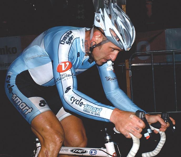 """Adam Myerson races in the """"Nacht van Woerden"""" cyclocross race in Woerden, Netherlands. - PHOTO BY E. DRONKERT"""