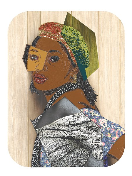 """Portrait of Qusuquzah #6,"" a mixed media work by Mickalene Thomas recently acquired by MAG, is on display in the reinstalled Forman Gallery. - PHOTO PROVIDED"