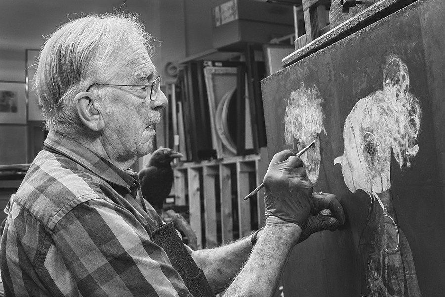 The work of Robert Ernst Marx (pictured in his studio) is currently featured in a show at Rochester Picture Frame, in celebration of sixty years of making art. - PHOTO BY JOHN SOLBERG
