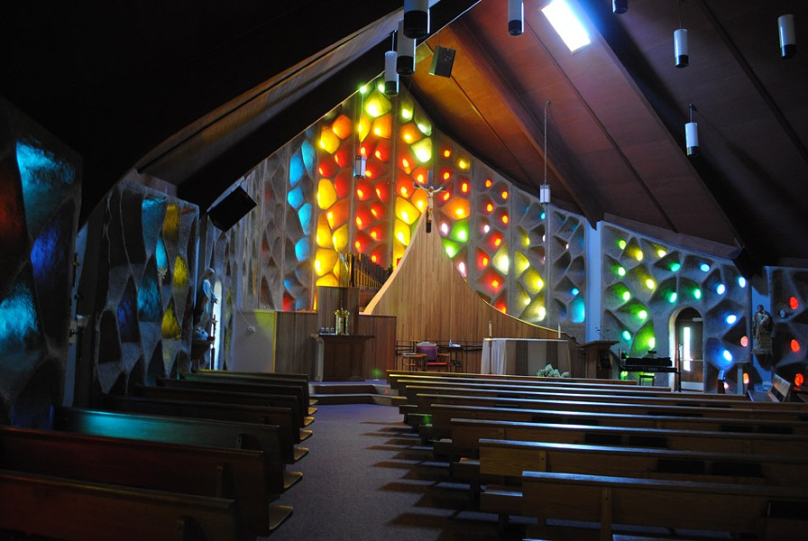 Bringing the outside in with colored glass: Naples' St. Januarius Church. - PHOTO BY CYNTHIA HOWK FOR THE LANDMARK SOCIETY OF  WESTERN NEW YORK