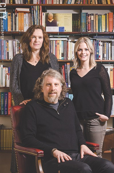 Clockwise from top left: Melissa Hall, Jenna Fisher, and Peter Conners run the independent press BOA Editions, which is celebrating its 40th anniversary this year. - PHOTO BY MARK CHAMBERLIN