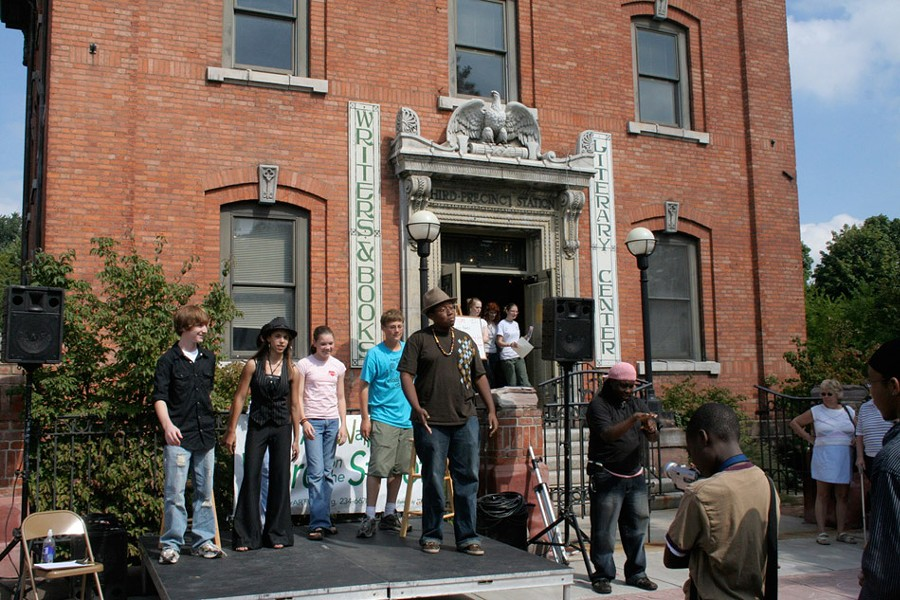 Teen poets performing in front of Writers & Books. - PROVIDED PHOTO