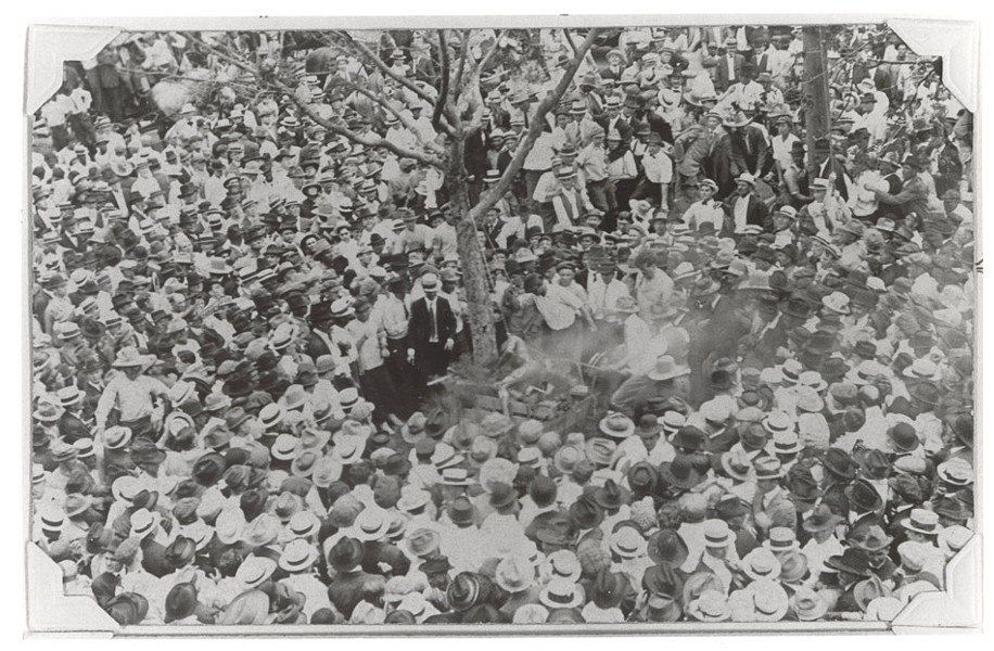 "This photograph of Jesse Washington's lynching in 1916 was used in Eison's film, ""Shadows of the Lynching Tree."" - PHOTO PROVIDED"