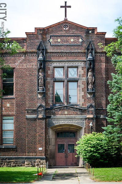 The Corpus Christi School in Marketview Heights was converted to apartments. - PHOTO BY MARK CHAMBERLIN