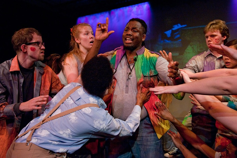 "A scene from ""Godspell,"" on stage at Geva Theatre Center last spring. - PHOTO BY MARK BENJAMIN"