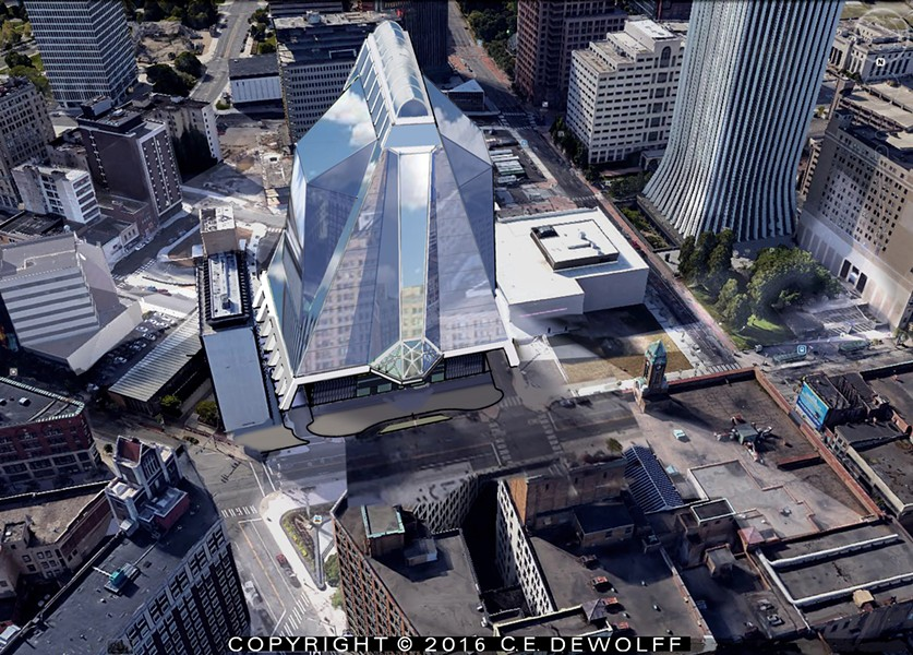 A local partnership proposes a minimum 14-story glass-and-steel structure for Midtown, with condos, restaurant, performing arts center, hotel, and other amenities. - PROVIDED IMAGE