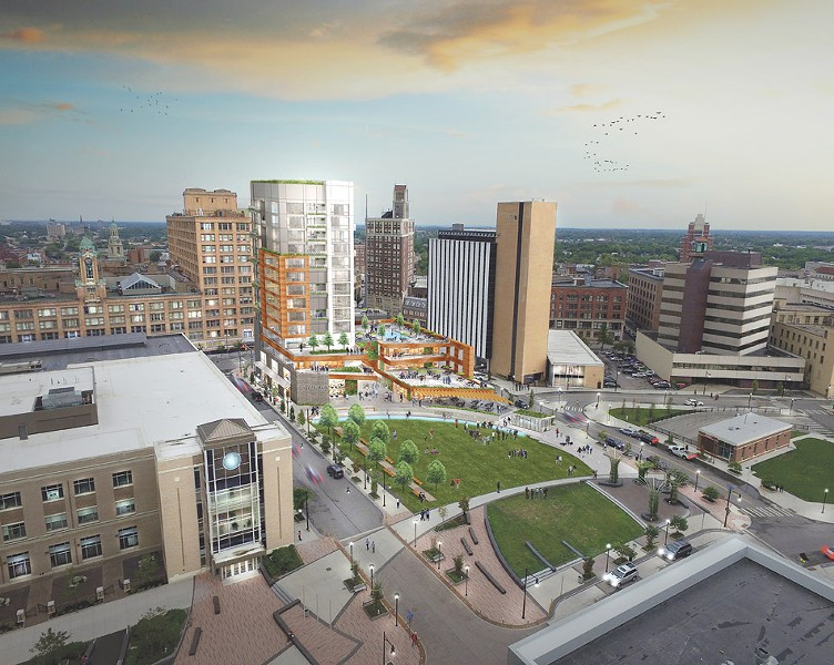 Gallina Development's plan for Parcel 5 includes a 14-story tower for condominiums and retail space and green space for public use. - PROVIDED IMAGE