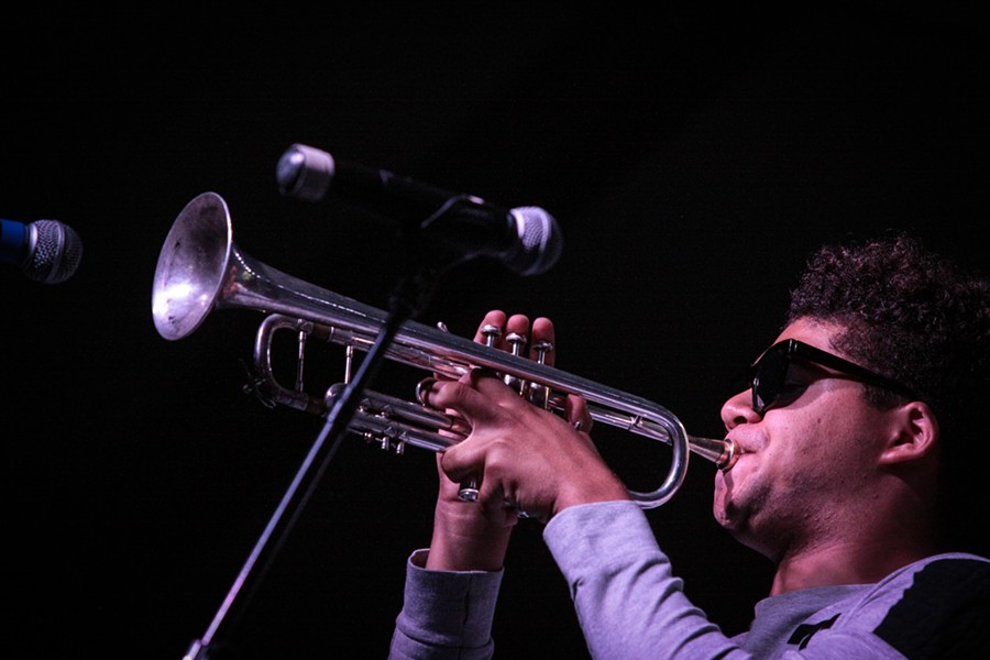 The New Breed Brass Band at the Big Tent on Monday. - PHOTO BY FRANK DE BLASE