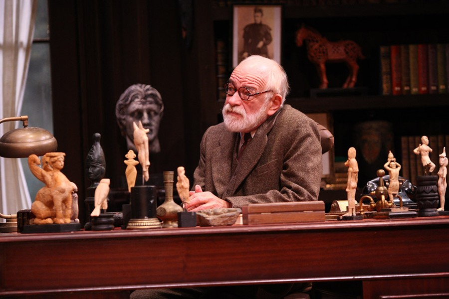 "Geva created small figurines of deities to replicate Freud's desk in the 2012 show ""Freud's Last Session."" - PHOTO BY HUTH PHOTO"