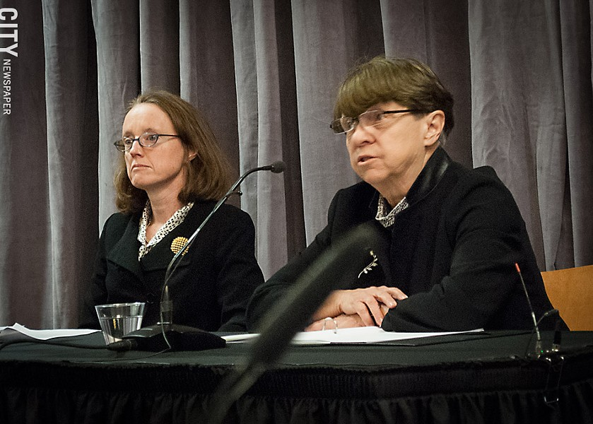 Mary Jo White, senior chair of the law firm Debevoise & Plimpton, delivers the results of her investigation into the University of Rochester's handling of accusations against Professor Florian Jaeger - PHOTO BY RYAN WILLIAMSON
