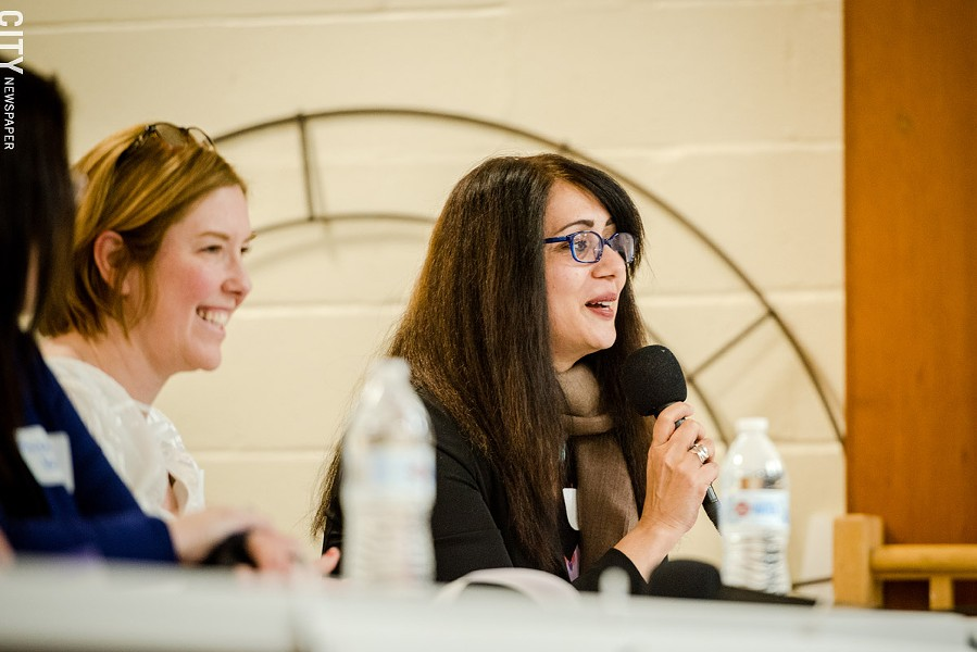 Labor Federation's Maria Thomas (left) and filmmaker Mara Ahmed (right) also acted as commissioners. - PHOTO BY JOSH SAUNDERS