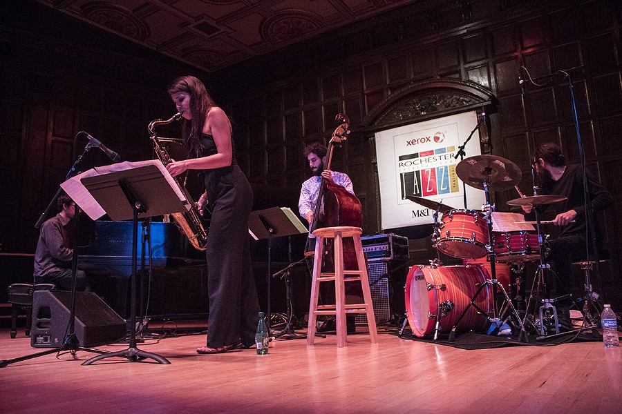 The Melissa Aldana Quartet played Kilbourn Hall on Saturday as part of the Xerox Rochester International Jazz Festival. - PHOTO BY ASHLEIGH DESKINS