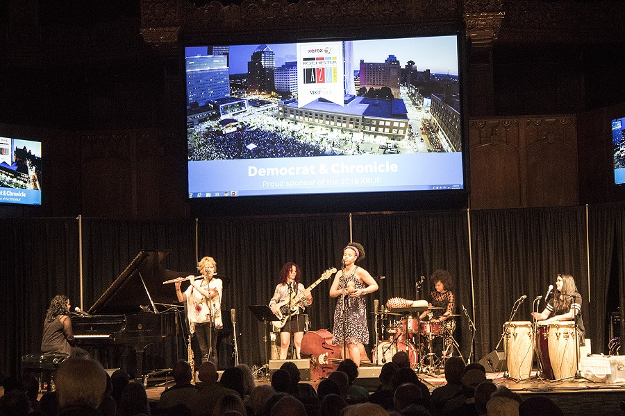 Jane Bunnett & Maqueque played the Temple Building Theater on Monday night. - PHOTO BY ASHLEIGH DESKINS