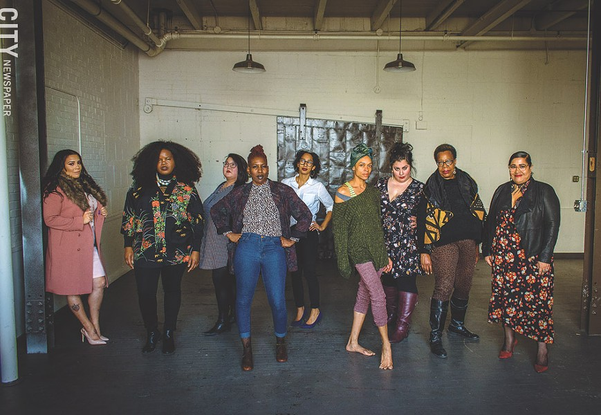 Some of the founding members of WOC•Art collaborative, from left to right: Tamara Leigh, Danielle Ponder, KaeLyn Rich, Reenah Golden, Tianna Mañón, N'Jelle Gage-Thorne, Rachel McKibbens, Delores Jackson-Radney, and Rachel DeGuzman. - PHOTO BY RYAN WILLIAMSON