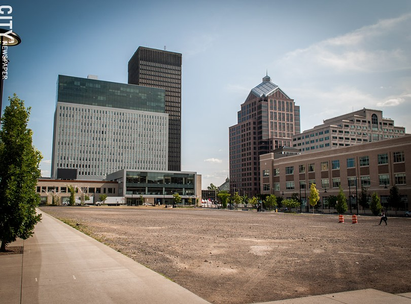 """City officials have changed their mind about Parcel 5's development. It'll be some kind of """"community gathering place."""" - PHOTO BY RYAN WILLIAMSON"""